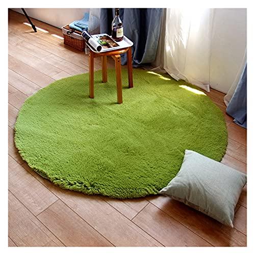 alfombra Shaggy Alfombra redonda para sala de estar Habitación para niños Alfombra de casa Pasta de peluche de peluche Mat Rugs Dormitorio Alfombras suaves ( Color : Green , Size : Diameter 120cm )