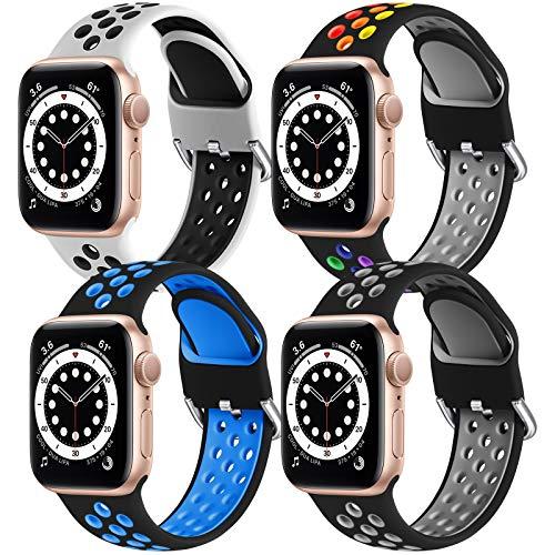 JUVEL Armband Kompatibel mit Apple Watch Armband 44mm 42mm, 4 Pack Weich Atmungsaktives Silikon Ersatz Armbänder Kompatibel für iWatch Series 6/5/4/3/2/1/SE, S/M Weiß/Schwarz/Schwarz/Schwarz
