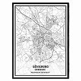 Lüneburg Deutschland Karte Wandkunst Leinwand drucken