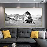 Póster de arte de pared de personas y naturaleza, lienzo de leopardo y mujeres africanas, pintura moderna para sala de estar, decoración del hogar, Mural 60x120 CM (sin marco)