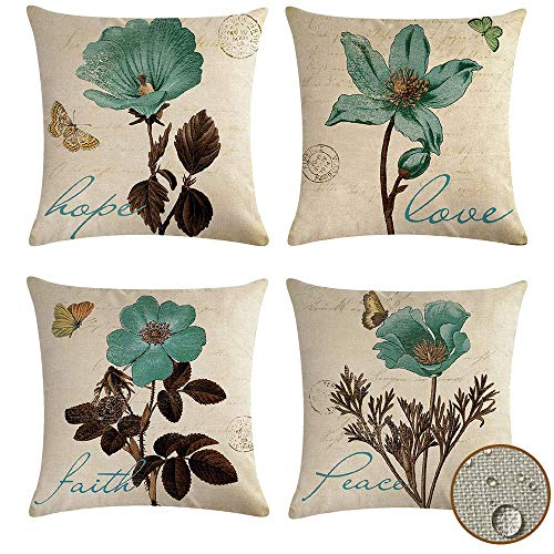 vigvog Outdoor Waterproof Cushion Covers 45 x 45, Pack of 4, Water Resistant Scatter Garden Cushion Covers for Outside Bench Sofa Furniture (Flower)