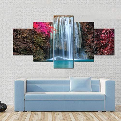 QWASD Cascada En Lugar Colorido Cuadros En Lienzo Pintura 5 Paneles Cuadro Moderno para Niños Habitación Decoración para El Hogar 150Cm×80Cm,con Marco