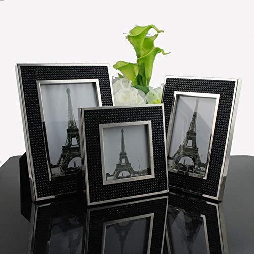 Moderne minimalistische mode, hoogwaardige fotolijsten, opstellen, zwart-wit, steentjes, metalen fotolijsten, decoraties, geschenken 7 inch Zwart