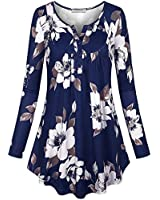 SeSe Code Floral Tops for Women,Long Sleeve T Shirt Fall Comfortable Tunic Pleated Front Zulily Top Female Vneck Trendy Trapeze Shirts Comfy Clothing Navy Medium