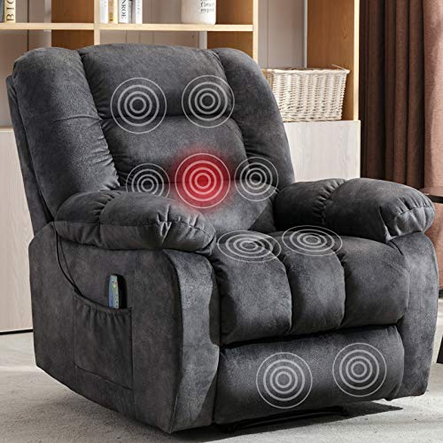 ANJ Massage Recliner Chair with Heat and Vibration, Soft Fabric Lounge Chair Overstuffed Sofa Home Theater Seating (Gray)