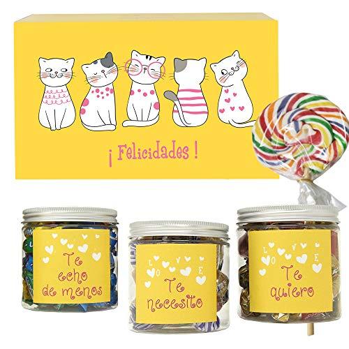 SMARTY BOX Chuches Regalo Caja de Caramelos y Gominolas San Valentín, Cumpleaños Pareja, Enamorados, Golosinas sin Gluten, Fabricado en España