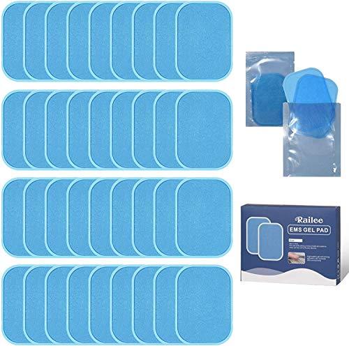 Railee EMS Gel Hojas, Hoja Gel Pad de Repuesto para EMS Electroestimulador Muscular Reutilizable Reemplazable Hidrogel Gel Pad ABS Estimulador Muscular Repuesto De Repuesto Accesorios 36 Piezas