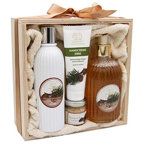 NEU! Geschenk Set Zirbe • mit BIO-Schafsmilch • hergestellt in Österreich • Natur • Anti-Stress-, Verwöhn-, Wellness & Badeset • ideale Geschenkidee für Frau und Mann