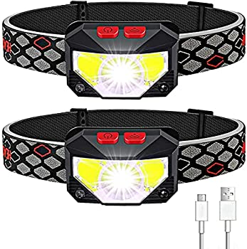 Soft Digits Headlamp Rechargeable 2-Pack LED Headlight 1100 Lumens USB Head Lamp Flashlight 8 Modes Head Light Waterproof Headlamps with Motion Sensor for Outdoors Camping Fishing  2 Pack Black