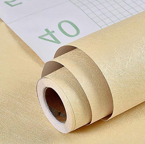Contact Paper Self Adhesive Vinyl Film Table Door Sticker Wallpaper,Weiße einfarbige Tapete, wasserdicht, feuchtigkeitsbeständig, schrubbender Wandaufkleber-Seide hellgelb_60 cm * 10 m