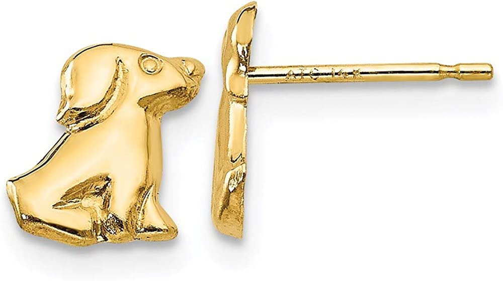 14k Yellow Gold Dog Post Stud Earrings Animal Cat Fine Jewelry For Women Gifts For Her