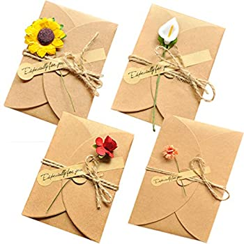 AECIH Flower Thank You Card 12 Pack All Occasion Greeting Card Handmade Invitation Card with Envelopes
