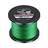 SXSHUN Sedal Trenzado de 4 Filamientos - Hilo de Pesca (300-1000 M) - PE Sedal Fuerte y Resistente (12-100 LB), Verde, 1000m - 0.26mm (2.5#) - (13.6 kg /29.9 LB)