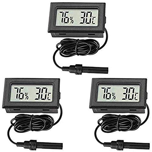 Thlevel 3 PCS 2-en-1 Termómetro higrómetro Digital LCD con Externo para incub medidor de Humedad Interior medidor de Humedad para el hogar Oficina Invernadero sótano Coche babyroom (Type B)
