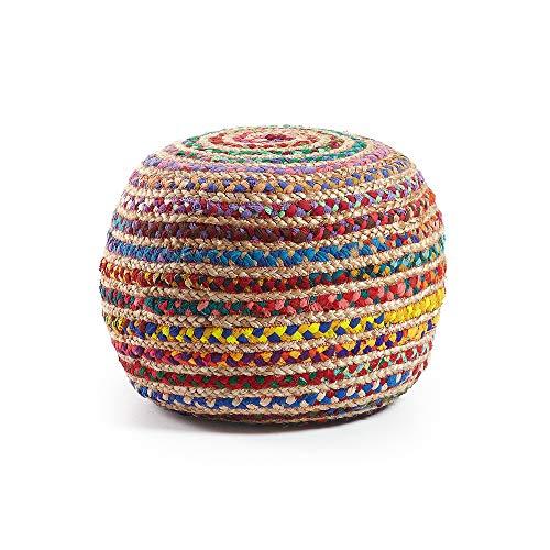 Kave Home - Puf Redondo Saht de Yute Natural y algodón