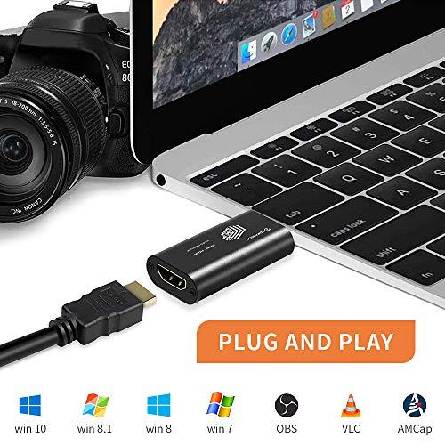 Video Capture Card, 1080P HDMI Videoaufnahmekarte USB 2.0 Video Capture Karte, HDMI Grabber Capture Streamen Aufnehmen und Teilen über DSLR, Camcorder, Unterstützt Videoaufzeichnung Live-Übertragungen