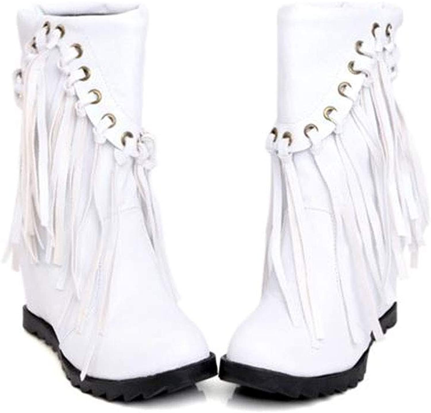 Women's Boots, Large Size Women's shoes Quality Artificial PU Fabric Perforated Tassel Decoration in The Boots Sleeve Women's Boots Plush Lining Winter Warm Boots, Comfortable Casual shoes,White,43