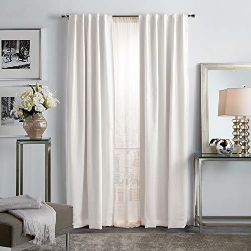 "MARTHA STEWART Park Avenue Metallic Blackout Back Tab Window Curtain Panel Pair, 95"", Blush"