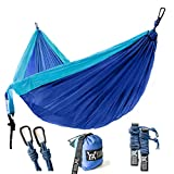 """WINNER OUTFITTERS Double Camping Hammock - Lightweight Nylon Portable Hammock, Best Parachute Double Hammock for Backpacking, Camping, Travel, Beach, Yard. 118""""(L) x 78""""(W), Sky Blue/Blue Color"""