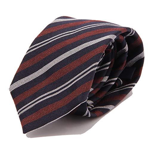 ALTEA 8712J cravatta uomo MILANO blue/brown/white silk/cotton tie man [ONE SIZE]