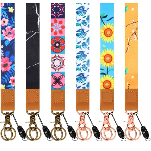 6 Pieces Wristlet Strap Lanyard for Key Hand Wrist Lanyard Keys Holder Wrist Lanyard Keychain Wrist Strap for Keys ID Badges Library Cards Mobile Phone Camera USB Holder Lanyard