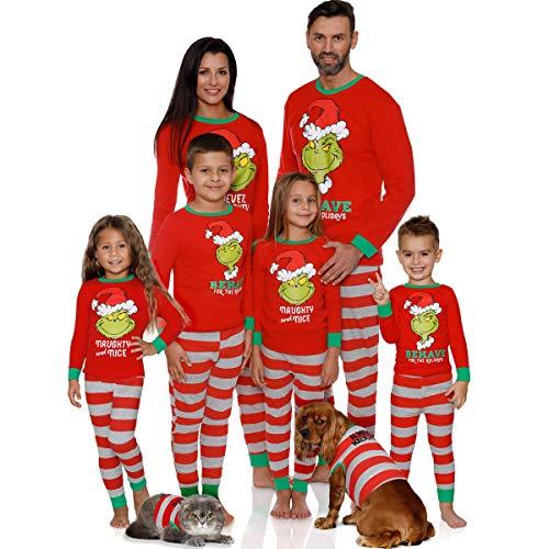 Greetuny Pijama Familiar de Navidad Invierno 2020 Disfraz Navidad Divertidos Ropa de Dormir Camiseta Manga Larga y Pantalones Matching Christmas Pajamas (120, Hijo)