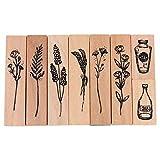 Healifty 8 Pz Vintage Timbri in Legno Imposta Motivi Floreali Piante Decorative Pittura Timbri Timbri Festa di Compleanno Favore per Carta Scrapbooking Fai da Te Diario Artigianale