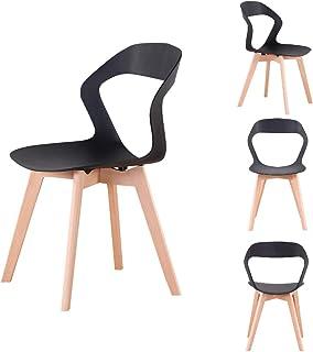 Sillas modernas y cómodas para comedor/cocina/sala de estar/oficina/sala de estudio/restaurante (negro, 4)