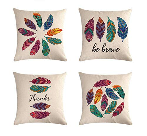 "Emvency Decorative Throw Pillow Covers Cushion 18"" x 18"" Inches Set of 4 Cotton Linen Colorful Vintge Feathers for Room Bedroom Sofa Chair Car"