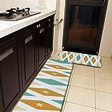 Juego de 2 alfombras de cocina y alfombrillas, color turquesa, naranja, crema y crema, diseño retro, antideslizante, suave, suave, absorbente, para cocina, piso, baño, fregadero, lavandería, oficina