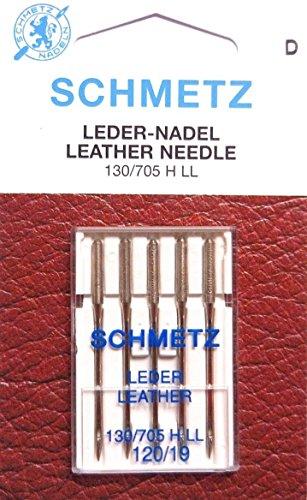 Schmetz 5 agujas universales de piel 130/705H-LL, para máquina de coser, grosor 120