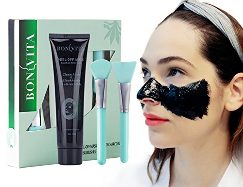 Blackhead Remover Mask, Anti-wrinkle Peel Off Black Mask, BONVITA Bamboo Charcoal Peel Off Mask and Brush Kit for Women & Men for Face Nose Acne Treatment Oil Control (Blackset)
