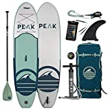 Peak All Around Inflatable Stand Up Paddle Board Package | 10'6' Long x 32' Wide x 6' Thick | Durable and Lightweight SUP | Stable Wide Stance | Moss