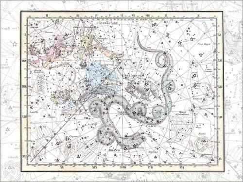 Leinwandbild 90 x 70 cm: Sternbilder des Ursa Minor und der Kassiopeia, Platte 2 von Alexander Jamieson - fertiges Wandbild, Bild auf Keilrahmen, Fertigbild auf echter Leinwand, Leinwanddruck