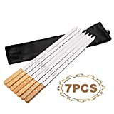 Goutime 23 Inch, 1 Inch Wide Stainless Steel Grilling BBQ Skewers with Wood Handle for Making Koubideh Persian Brazilian Kabob, Set of 7 with Bag