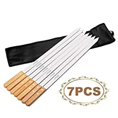 Comparing with the similar products in the market, we use PU leather storage bag to package the kebab skewers Premium rust proof stainless steel with solid Oak Wooden Handle for cooler handling Dimensions - 23 1/2 inch, length (blade) - 18 1/2 inch, ...
