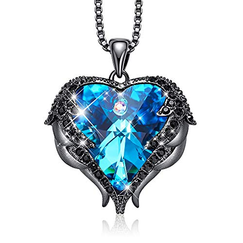 NEWNOVE Blue Heart Necklace Angel Wings Pendant Necklaces Gifts for Women Made with Swarovski Crystals