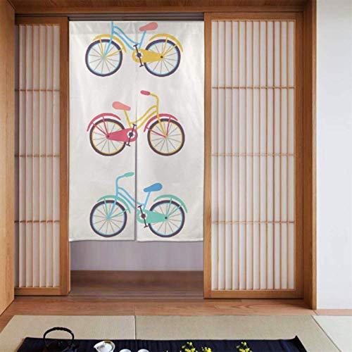 LONGYUU Breite Tür Vorhänge Fahrrad Rad Radspiel Spiel Sport Schlafzimmer Vorhänge Transparente Falttür Vorhang Lange Typ Für Zuhause Küchentür Dekoration 34 X 56 Zoll (86x143cm)