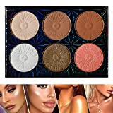 Ecofavor Highlighter Makeup Palette Glow Pressed Bronzing Powder Makeup Highlighter Kit Highly Pigmented and Contour Face Shimmering Colors Highlighter Highly Quality and Cruelty Free