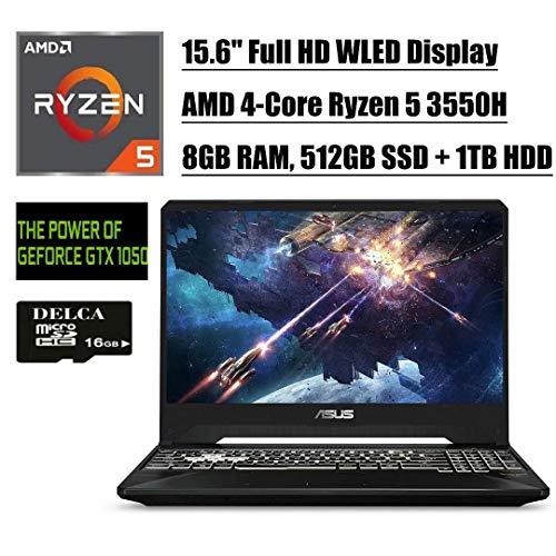 Premium 2020 Asus TUF FX505DD VR Ready Gaming Laptop I 15.6' Full HDDisplay I AMD Quad-Core Ryzen 5 3550H I 8GB DDR4 512GB SSD 1TB HDD I 4GB GTX 1050 Backlit KB Win 10 + Delca 16GB Micro SD Card