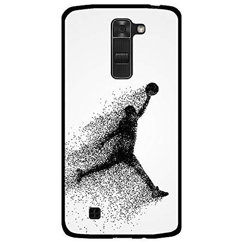 BJJ SHOP Funda Negra para [ LG K7 ], Carcasa de Silicona Flexible TPU, diseño : Jugador de Baloncesto Abstracto Saltando