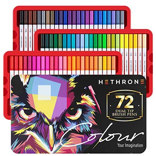 Hethrone 72 Color Dual Tip Brush Pen Marcadores de arte con puntas de pincel de nylon y fineliners para adultos y niños Libros para colorear Caligrafía Dibujo Toma de notas
