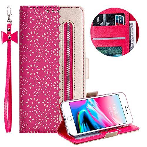 Reißverschluss Brieftasche für iPhone 8,Gurt Wallet Handyhülle für iPhone 7,Moiky Stilvoll Heiß Rosa Spitze Blume Malerei Klappbar Stand Leder Handytasche