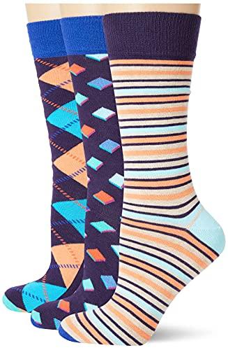 Happy Socks HS by HS Argyle 3-Pack Socks Calzini, Multicolore (5501), Taglia Unica Unisex-Adulto