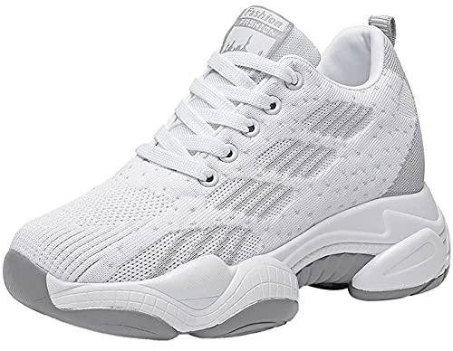 GILKUO Zapatillas Cuña Mujer Wedge Sneakers Plataforma Talón 10 CM Blanco 39