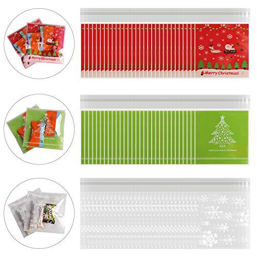 HOWAF 300 Pezzi Natale Sacchetti Trasparenti per Caramelle Sacchetti Confetti Plastica Alimentari con Strip Adesiva Sacchetti Bustine Biscotto per Natale, Regali, Matrimonio, Compleanno