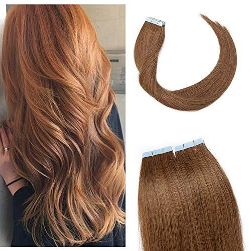 SEGO Tape Extensions Remy Echthaar Klebeband Haarverlängerung Haarteile 100% Human Haar 10pcs Hellbraun#6 14