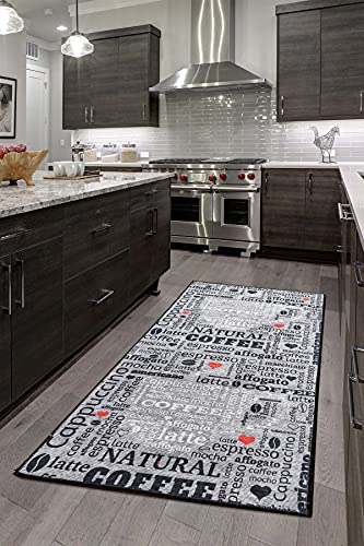 Alfombra de cocina moderna de gel, alfombra de cocina, color gris, blanco y negro, antideslizante, con texto 'Coffee Macchiato' (gris, 80 x 200 cm)