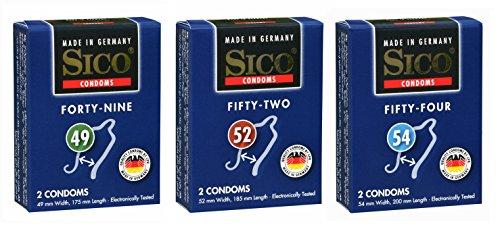 Sico SIZE Kondome in verschiedenen Größen und Packungen - Made in Germany (49 mm, 52mm & 54 mm, 6er)