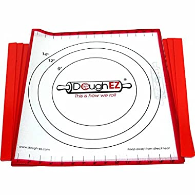 DoughEZ Extra Large 17.5 x 32 Non-Slip Silicone Pastry Dough Rolling Mat and 6 Guide Sticks - BPA Free, FDA Approved materials